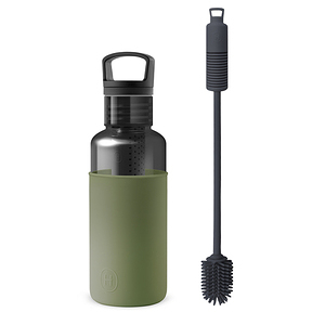 【HYDY】輕靚冷水瓶 碳黑-海藻綠 (590ml) + 專用刷具