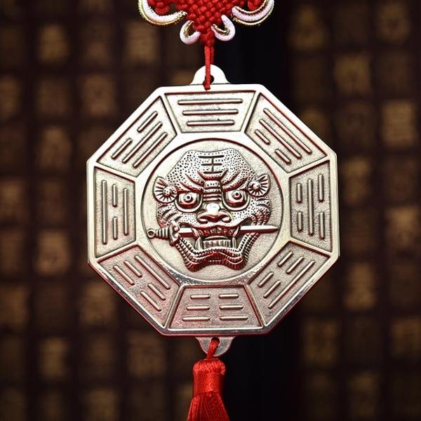 開光純銅十二生肖虎頭牌八卦鏡 獅咬劍銅牌風水掛件鎮宅平鏡凸鏡