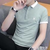 夏季潮流韓版襯衫領短袖POLO衫2019新款有帶領短袖T恤男翻領衣服 造物空間