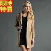 女長版大衣 麂皮-合身剪裁高品質修身磨沙面潮流外套65ah3【巴黎精品】