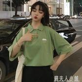 韓版寬鬆百搭短款學生七分7分中袖T恤女衫九分短袖上衣服bf夏 「錢夫人小鋪」