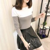 韓版圓領套頭毛衣 緊身長袖打底衫 上衣修身針織衫