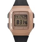 CASIO手錶 復古方型玫瑰金電子膠錶NECD22