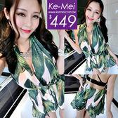 克妹Ke-Mei【AT51746】泰國潮牌 渡假風樹葉圖騰性感吊頸露背連身褲裝