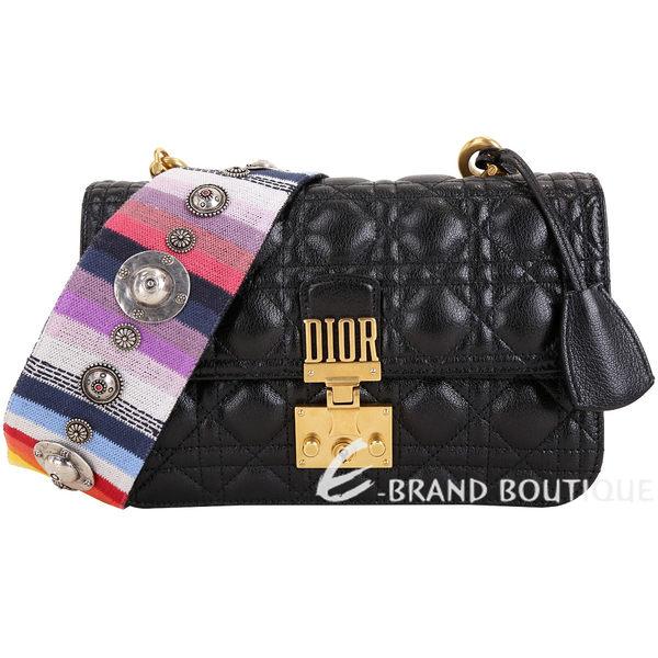 Dior DIORADDICT 刷色鉚釘背帶黑色頂級羊皮籐格紋肩背包 1840345-01