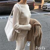 韓國新款大容量極簡風字母單肩帆布包簡約手提女包純色托特包   麥琪精品屋