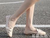 樂福鞋春季新款英倫風方頭復古晚晚鞋百搭平底樂福鞋網紅仙女單鞋女 初語生活