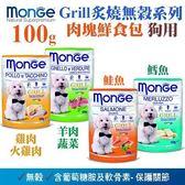 *WANG*【x12包】Monge《Grill炙燒無穀系列-雞肉火雞肉|羊肉蔬菜|鮭魚|鱈魚》 100g/包 犬適用