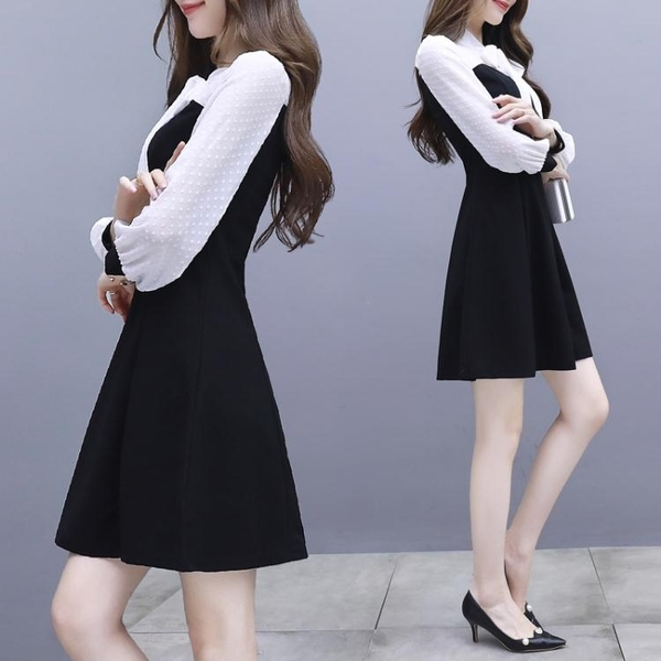 雪紡洋裝 初秋新款名媛赫本小香風小黑裙女秋季長袖中長款雪紡假兩件洋裝 雙十二全館免運