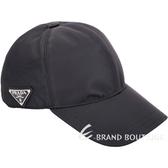 PRADA 經典三角牌尼龍棒球帽(黑色) 1910172-01