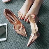 夏季新款尖頭伴娘年會高跟鞋細跟側空OL漆皮女鞋香檳銀色單鞋涼鞋 免運直出 聖誕交換禮物