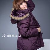鋪綿外套--風格獨具的百搭單品-霧面毛邊連帽斜紋鋪綿長大衣(黑.紫M-2L)-J71眼圈熊中大尺碼