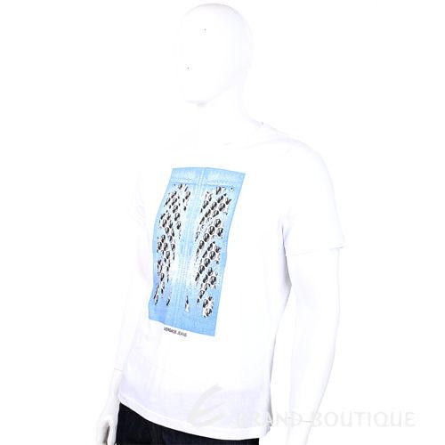 VERSACE T-Shirt 白色水藍圖騰設計短袖上衣 1410724-20