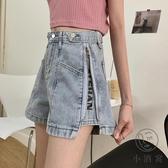 牛仔褲短褲女韓版寬鬆直筒闊腿褲子拉鏈高腰【小酒窩服飾】