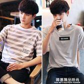 夏裝男士短袖t恤韓版圓領半袖體恤潮流男裝打底衫寬鬆條紋上衣服Q