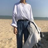 長袖T恤白色打底衫女秋內搭上衣寬鬆圓領【愛物及屋】