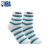 NBA 女款條紋基本緹花中筒襪 MIT 運動配件 中筒襪 平底襪(白/藍綠條紋)