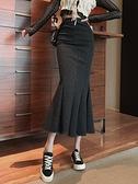 魚尾裙 2021年新款高腰一步中長款裙子女春季包臀裙顯瘦魚尾開叉半身裙【快速出貨八折搶購】