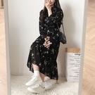雪紡洋裝 大碼女裝2021年春裝新款碎花雪紡連衣裙子法式桔梗茶歇裙胖MM夏季