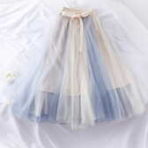 蓬蓬裙超仙蝴蝶結綁帶高腰顯瘦網紗蓬蓬裙女2020新款拼色中長款半身紗裙 非凡小铺新年禮物