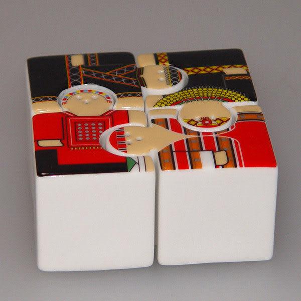 鹿港窯-居家開運商品-原住民拼圖調味組135-1601