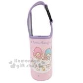 〔小禮堂〕雙子星潛水布飲料杯套《粉紫餐桌》手搖杯套環保杯袋水壺袋4712977 46474
