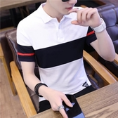 男士短袖t恤翻領polo打底衫韓版潮流體恤上衣服夏季新款男裝半袖 免運