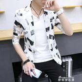 男士夏季短袖西服韓版修身半袖小西裝青少年休閒上衣外套潮流   麥琪精品屋