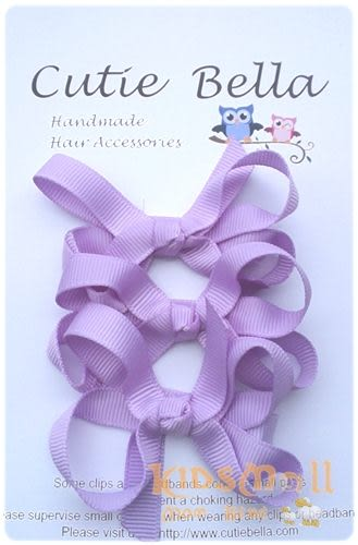 Cutie Bella蝴蝶結髮夾三入組-Purple
