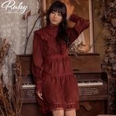 洋裝 V字荷葉蕾絲滾邊長袖洋裝-Ruby s 露比午茶