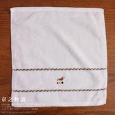 【京之物語】日本製DAKS白色素面臘腸狗純綿方毛巾