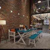 訂製復古實木長方形餐桌咖啡廳奶茶店酒吧桌西餐廳快餐店飯店桌椅組合 新品全館85折 YTL