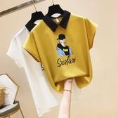 雪紡上衣字母印花女孩衫薄款襯衫2020夏裝ins潮流寬鬆短袖小衫