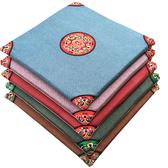 中式亞麻坐墊餐椅墊特色刺繡紅木沙發官椅座墊中國風四季古典圓墊