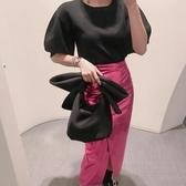 INS 凹造型單肩包化妝包 可愛蝴蝶結太空棉手提手拿包 ☸mousika