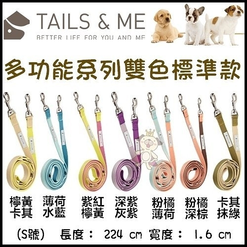 *KING WANG*台灣製TAILS&ME 尾巴與我《多功能雙色標準款牽繩》M號賣場