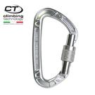 Climbing Technology 超輕D型鋁合金有鎖鉤環2C33300 原色/城市綠洲專賣(攀岩鉤環.吊環)