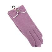 CLATHAS 安哥拉混羊毛山茶花LOGO觸控手套(紫色)