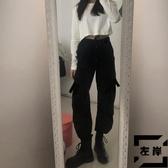 工裝褲女直筒闊腿束腳寬鬆小個子胖mm大碼【左岸男裝】