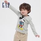 Gap男幼童 Gap x Disney 迪士尼系列正反印花長袖T恤 649649-淺麻灰