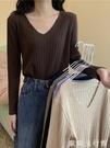 針織長袖T恤 秋季韓版寬鬆百搭V領長袖套頭針織打底衫修身T恤女學生衣服ins潮 歐歐