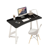 【Incare】簡約圓角弧形鋼木電腦桌書桌(100*50*75cm)黑色+白架