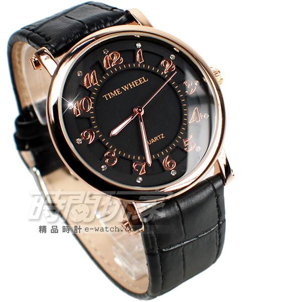 TIME WHEEL 日本機芯 數字鑲鑽設計 皮帶 玫瑰金電鍍x黑 男錶 TW064玫黑大 數字錶