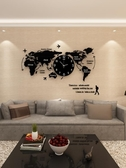 創意鐘錶掛鐘客廳現代簡約藝術時尚裝飾北歐世界地圖個性家用時鐘