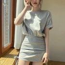 洋裝包臀裙韓國東大門夏季衛衣圓領短袖小眾款抽繩設計高腰包臀假兩件連身裙H503快時尚