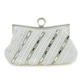晚宴包-珍珠時尚優雅氣質鑲鑽女手拿包2色73su26【時尚巴黎】