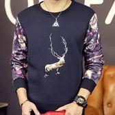 長袖T恤打底加絨-奢華質感圖案設計男上衣2色72ad30[巴黎精品]