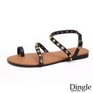 Dingle丁果ღ歐美套趾細帶䤝釘造型平底涼鞋(一色35-41)