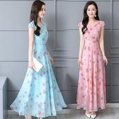 短袖雪紡洋裝 連身裙 女收腰中長版裙子印花長裙仙女-巴黎時尚