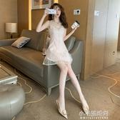 無袖洋裝 夏季網紅性感夜店女神吊帶低胸蕾絲V領網紅星星修身洋裝  【快速出貨】